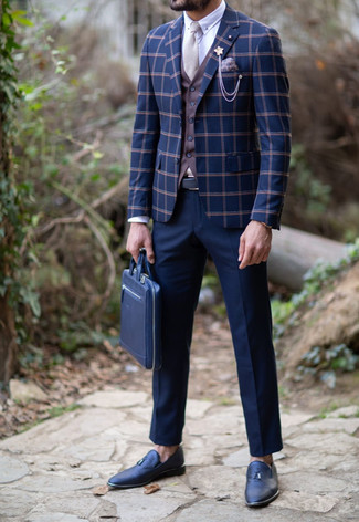 How to wear: navy check blazer, brown waistcoat, white dress shirt, navy dress pants