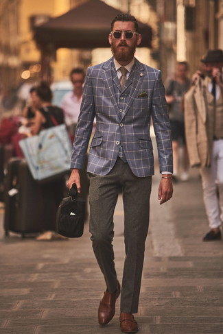 How to wear: navy check blazer, navy check waistcoat, white dress shirt, charcoal wool dress pants