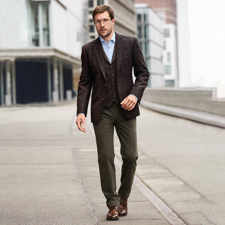 How to Wear Brown Leather Casual Boots For Men: This menswear style with a dark brown plaid wool blazer and olive chinos isn't super hard to pull off and easy to adapt. Brown leather casual boots will pull the whole thing together.