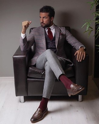 Purple Waistcoat Outfits: Wear a purple waistcoat with grey dress pants to look like a proper gentleman. If you need to easily dial down your ensemble with footwear, complete your ensemble with a pair of dark brown leather loafers.