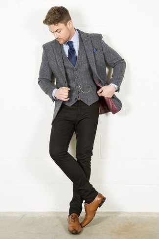 How to Wear Black Jeans In a Dressy Way For Men: For an outfit that's nothing less than gasp-worthy, wear a grey wool blazer with black jeans. Tan leather oxford shoes will bring a sense of refinement to an otherwise mostly dressed-down outfit.