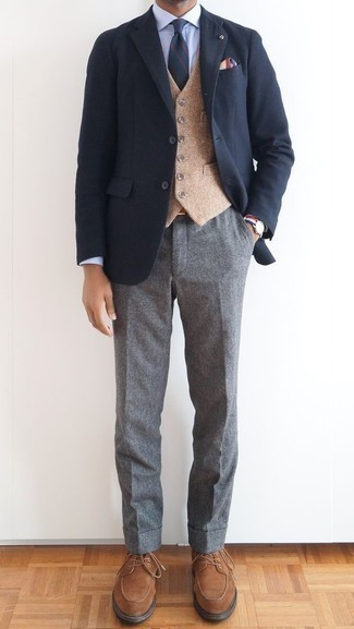 Tan Wool Waistcoat Outfits: This is indisputable proof that a tan wool waistcoat and grey wool dress pants are amazing when combined together in a refined outfit for today's gentleman. Exhibit your fun side by rounding off with brown suede derby shoes.