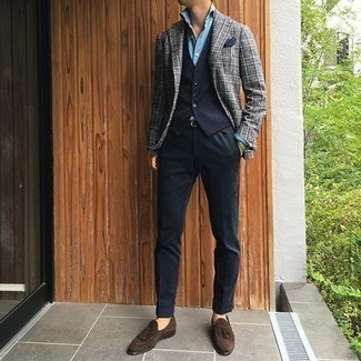 How to Wear Dark Brown Suede Tassel Loafers: A grey plaid blazer and black dress pants are a polished outfit that every modern gent should have in his collection. A pair of dark brown suede tassel loafers integrates smoothly within a variety of combos.