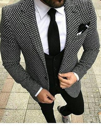 How to Wear a Black Knit Tie For Men: A black and white print blazer looks especially elegant when paired with a black knit tie in a modern man's ensemble. All you need is a great pair of grey leather tassel loafers to complement this outfit.