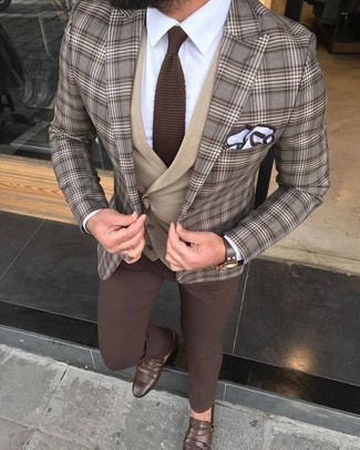 How to Wear a Brown Plaid Blazer For Men: Teaming a brown plaid blazer and brown chinos is a guaranteed way to breathe masculine sophistication into your styling lineup. Switch up your ensemble with a more refined kind of footwear, like these brown leather double monks.