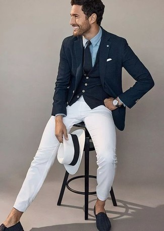 How to Wear a White Straw Hat For Men: Wear a navy blazer with a white straw hat to feel completely confident and look stylish. Channel your inner David Beckham and complete your outfit with a pair of navy woven leather loafers.
