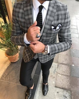 How to Wear Black Dress Pants For Men: Putting together a grey plaid blazer and black dress pants is a guaranteed way to inject personality into your closet. If you're puzzled as to how to round off, a pair of black leather double monks is a goofproof option.