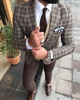 How to Wear a Brown Knit Tie For Men: Solid proof that a brown plaid blazer and a brown knit tie look awesome when combined together in a refined outfit for today's gent. Add brown leather double monks to this getup et voila, this ensemble is complete.