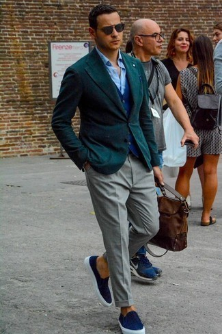 How to Wear Grey Dress Pants For Men: This combo of a dark green blazer and grey dress pants is perfect when you need to look classy and incredibly stylish. Complete your getup with navy canvas slip-on sneakers to inject a touch of stylish casualness into this outfit.