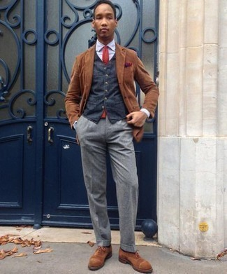 Fashion for 20 Year Old Men: What To Wear In a Dressy Way: Rock a brown corduroy blazer with grey dress pants if you're going for a neat, stylish look. Brown suede oxford shoes pull the getup together. Interested in fashion for young men? This combo goes straight to your favorites.