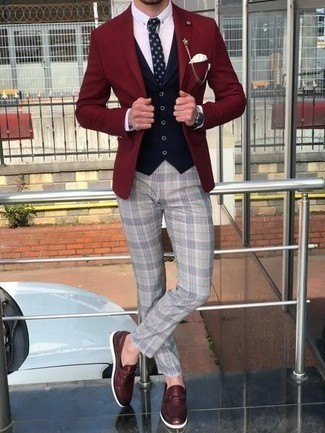 Navy Waistcoat Outfits: This is indisputable proof that a navy waistcoat and grey plaid chinos look amazing when matched together in an elegant outfit for today's gentleman. Want to go all out on the shoe front? Finish off with a pair of burgundy leather loafers.