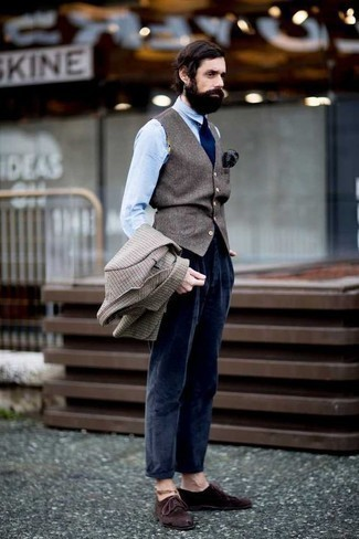 Dark Brown Suede Derby Shoes Outfits: Consider pairing a beige check blazer with navy corduroy chinos if you're going for a sleek, on-trend look. Let your sartorial skills really shine by finishing this outfit with a pair of dark brown suede derby shoes.
