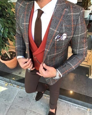 Brown Knit Tie Outfits For Men: One of the classiest ways to style such a hard-working menswear piece as a grey plaid blazer is to team it with a brown knit tie. Our favorite of a myriad of ways to complete this ensemble is a pair of dark brown suede double monks.