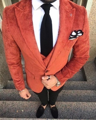 Waistcoat Outfits: To look like a modern gentleman with a good deal of class, wear a waistcoat with black dress pants. Does this ensemble feel too polished? Let a pair of black suede tassel loafers mix things up.