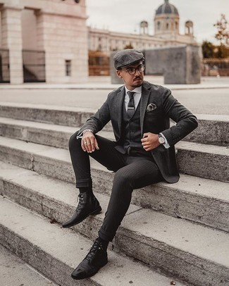 Pocket Square Outfits: Marry a charcoal wool blazer with a pocket square for a trendy and contemporary look. And if you want to immediately elevate this outfit with shoes, why not introduce a pair of black leather dress boots to the mix?