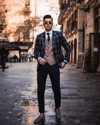 Loafers Outfits For Men: This pairing of a navy and white plaid blazer and navy chinos looks considered and immediately makes you look cool. Introduce a pair of loafers to the equation to easily turn up the wow factor of this look.