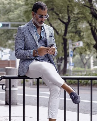 Light Blue Blazer Outfits For Men: This combo of a light blue blazer and white jeans will hallmark your skills in menswear styling. Get a bit experimental in the footwear department and smarten up this outfit by slipping into navy suede tassel loafers.