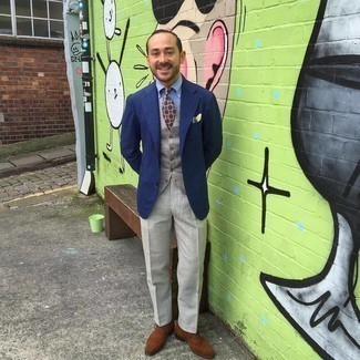 500+ Fall Outfits For Men: For an outfit that's elegant and envy-worthy, reach for a navy blazer and grey dress pants. Let your styling savvy truly shine by finishing this look with brown suede oxford shoes. This one is a viable idea when it comes to planning a well-coordinated ensemble for transitional weather.