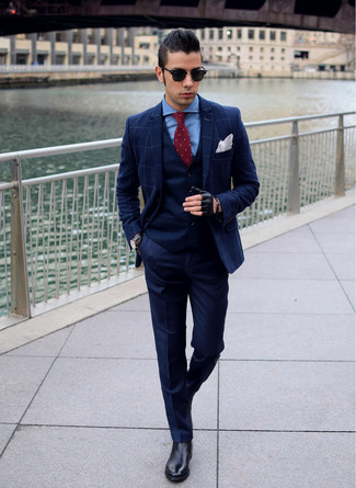 How to wear: navy check blazer, navy waistcoat, blue dress shirt, navy dress pants