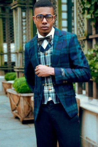 How to Wear a Black Bow-tie For Men: This combination of an aquamarine plaid blazer and a black bow-tie is on the casual side yet it's also sharp and extra stylish.