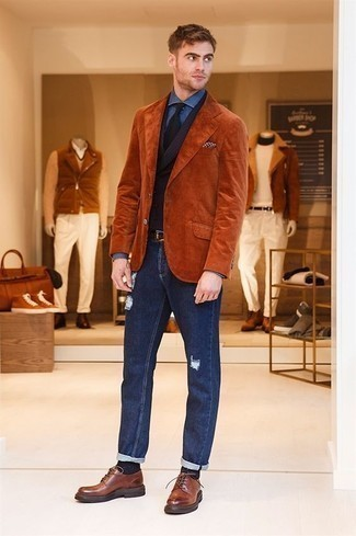 Jacket Fall Outfits For Men: This laid-back pairing of a jacket and navy ripped jeans is extremely easy to throw together in no time flat, helping you look amazing and prepared for anything without spending too much time searching through your wardrobe. If you want to immediately elevate this outfit with one item, why not complete this look with brown leather derby shoes? As you can see here, it's super easy to look awesome and stay comfy when colder weather hits, thanks to this look.