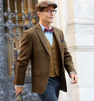 How to wear: brown check wool blazer, tan wool waistcoat, light blue dress shirt, charcoal jeans