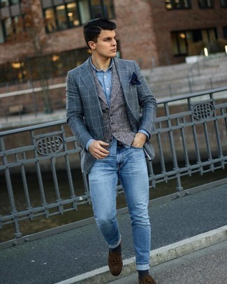 Charcoal Check Blazer Outfits For Men: Consider pairing a charcoal check blazer with light blue jeans for a laid-back ensemble with a clear fashion twist. Channel your inner Ryan Gosling and polish up your getup with dark brown suede tassel loafers.