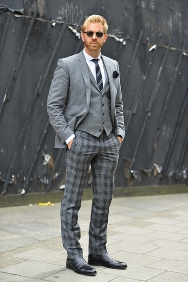 Grey Plaid Dress Pants | Men's Fashion