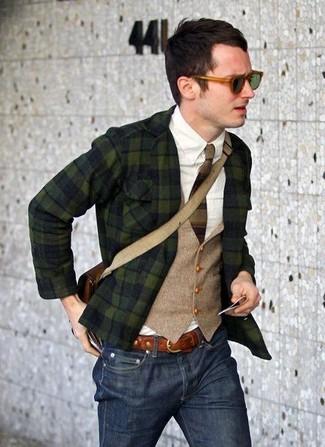 Blazer waistcoat long sleeve shirt jeans messenger bag tie belt sunglasses large 7522