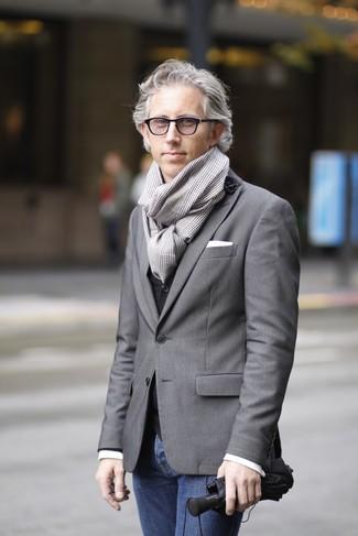 How to wear: grey blazer, black waistcoat, white long sleeve shirt, navy jeans