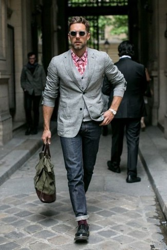 How to wear: grey blazer, grey waistcoat, red gingham long sleeve shirt, navy jeans