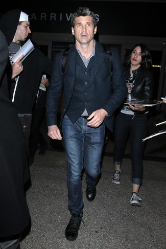 Patrick Dempsey wearing Navy Wool Blazer, Navy Wool Waistcoat, Black and White Gingham Long Sleeve Shirt, Navy Jeans