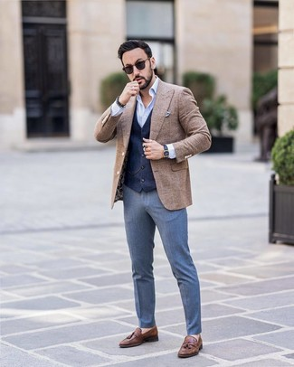 How to Wear a Brown Check Wool Blazer For Men: You can be sure you'll look extra smart in a brown check wool blazer and blue dress pants. Consider a pair of brown leather tassel loafers as the glue that will bring this getup together.