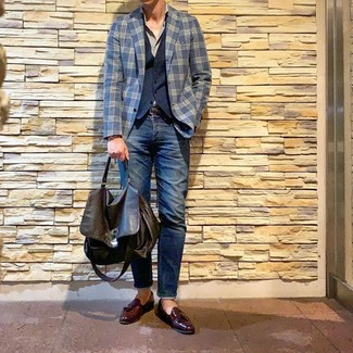 How to wear: navy plaid blazer, navy waistcoat, grey long sleeve shirt, navy jeans