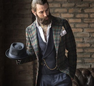 How to wear: dark green plaid blazer, charcoal waistcoat, white long sleeve shirt, navy dress pants