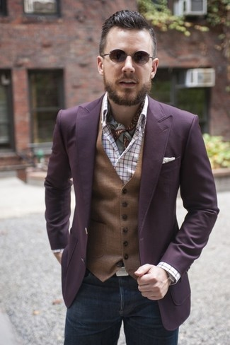 How to wear: purple blazer, brown waistcoat, white plaid long sleeve shirt, charcoal jeans