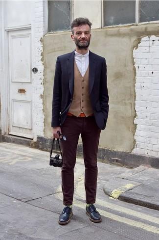 Men's Navy Blazer, Tan Waistcoat, White Long Sleeve Shirt, Dark Purple Velvet Jeans