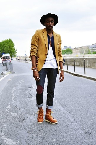 How to wear: mustard blazer, navy waistcoat, white tank, black jeans