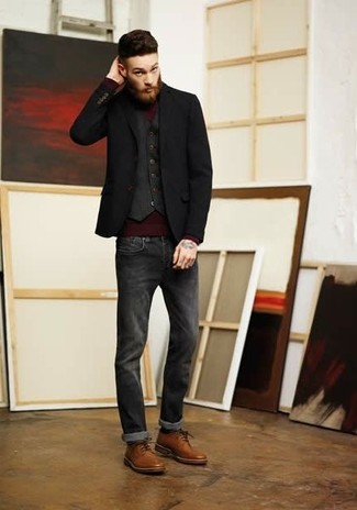 Men's Black Blazer, Charcoal Waistcoat, Burgundy Turtleneck ...