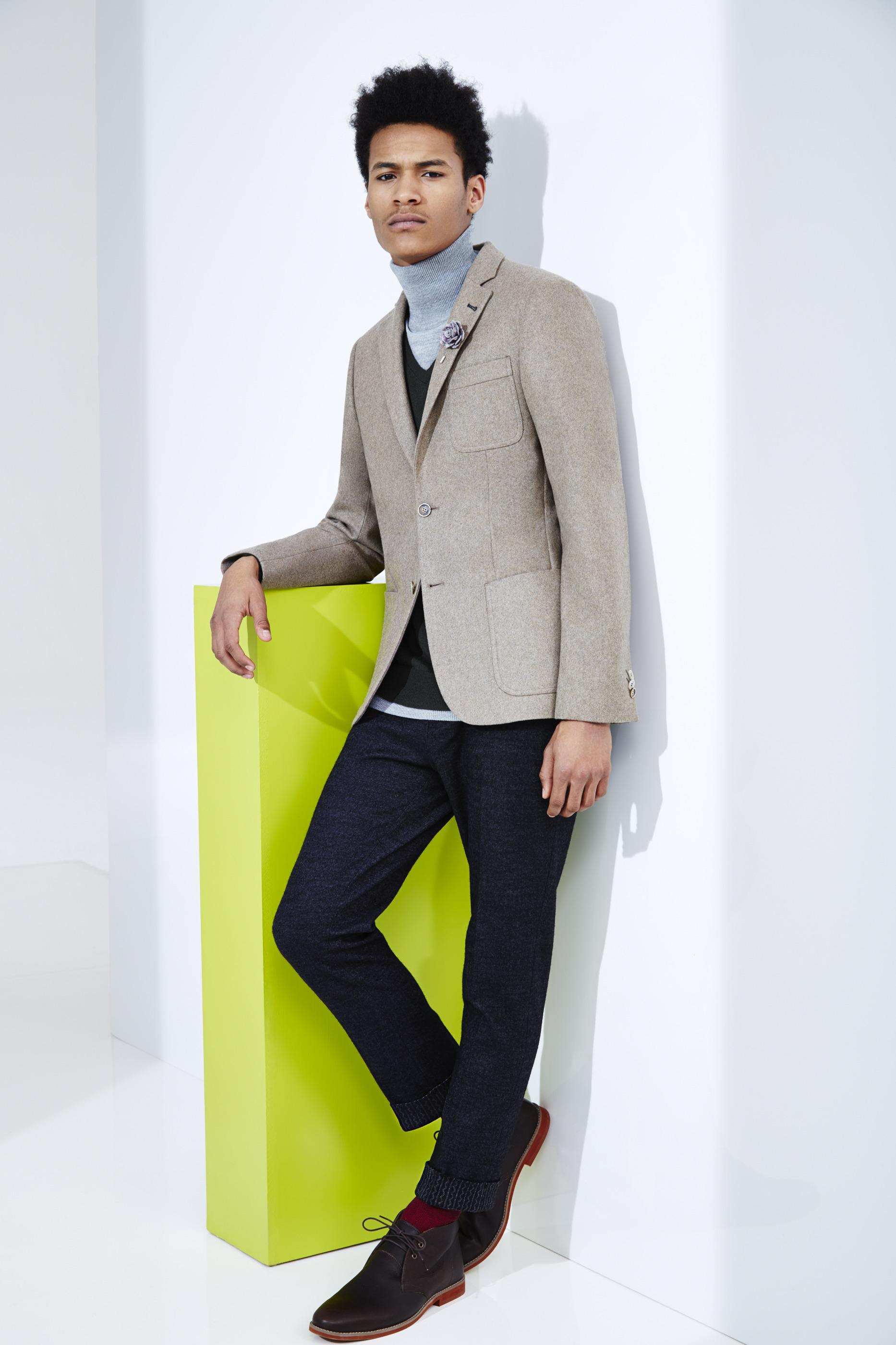 Dark brown jacket navy pants