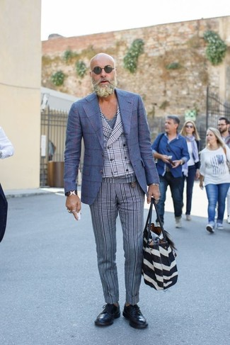 How to wear: blue check wool blazer, grey plaid waistcoat, navy plaid v-neck t-shirt, grey vertical striped wool dress pants
