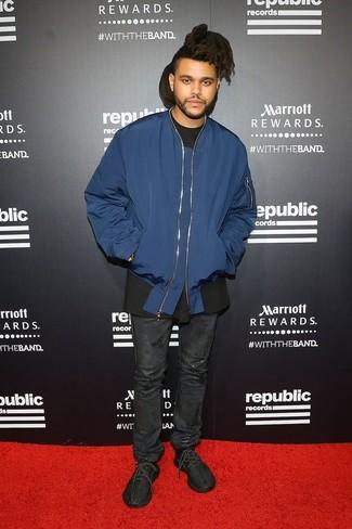Blouson aviateur bleu marine t shirt a col rond noir jean noir large 26278