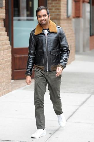 Blouson aviateur noir t shirt a col rond blanc pantalon chino olive large 26256