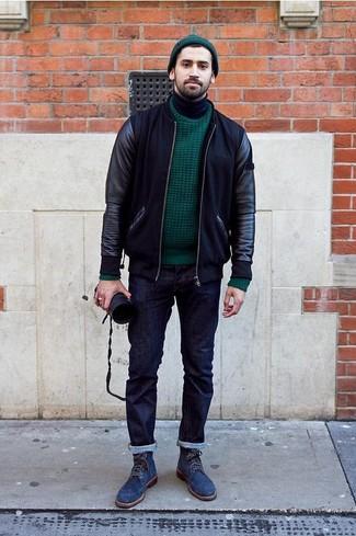 Marie un blouson aviateur en cuir noir avec un jean bleu marine pour un look de tous les jours facile à porter. Une paire de des bottes brogue en daim bleues marine apportera une esthétique classique à l'ensemble.
