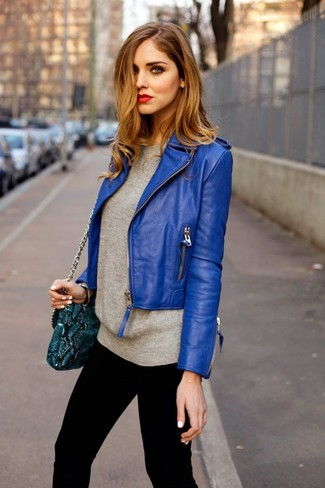 How to wear: blue leather biker jacket, grey crew-neck sweater, black skinny jeans, teal snake leather crossbody bag