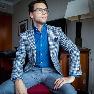 How to wear: blue gingham blazer, blue denim shirt, light blue dress pants, red and navy pocket square
