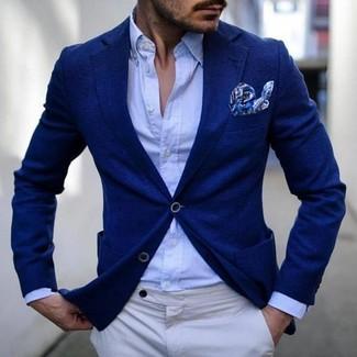 How to wear: blue blazer, light blue dress shirt, white chinos, blue print pocket square