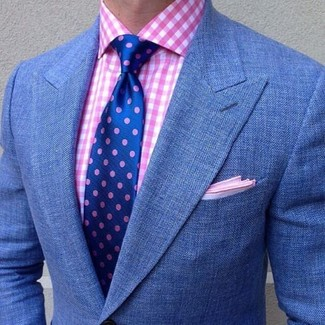 Consider teaming a pink gingham dress shirt with a blue blazer for a work-approved look. This one will play especially well come summer.