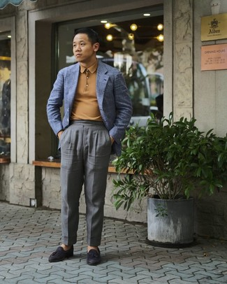 Blue Blazer with Grey Dress Pants Outfits For Men: Pair a blue blazer with grey dress pants for rugged refinement with a fashionable spin. We're loving how a pair of black leather tassel loafers makes this outfit whole.