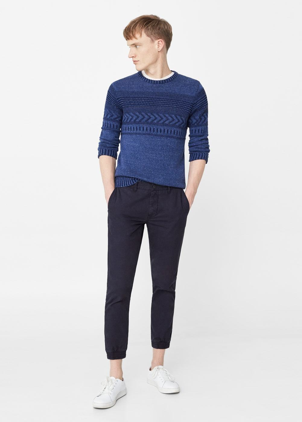 Men's Blue Cable Sweater, White Crew-neck T-shirt, Black Chinos ...